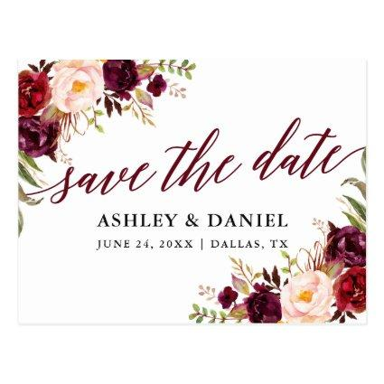 Calligraphy Floral Burgundy Save The Date Cards