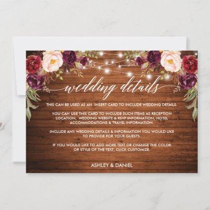 Calligraphy Floral Lights Wedding Details Card