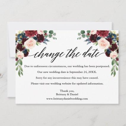 Calligraphy Floral New Wedding Date Card