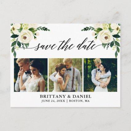 Calligraphy Green Floral Save The Date 3 Photo Announcement