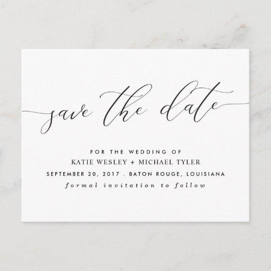 Calligraphy Modern Save the Date Announcement