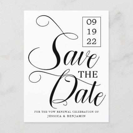 Calligraphy Photo Vow Renewal Save The Date Announcement