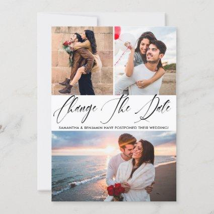 Calligraphy Photo Wedding Change The Date Save The Date