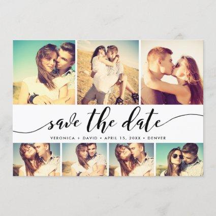 Calligraphy Save The Date 7 Photo Grid Collage