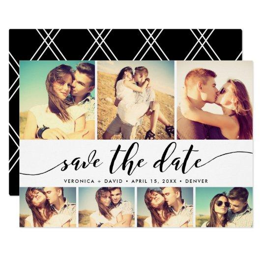 Calligraphy Save The Date 7 Photo Grid Collage Card