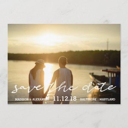 Calligraphy Save The Date Couple Photo Wedding