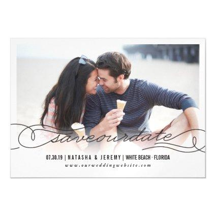 Calligraphy Script Save The Date Magnet Photo Card