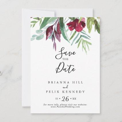Calligraphy Tropical Colored Floral Wedding Save The Date