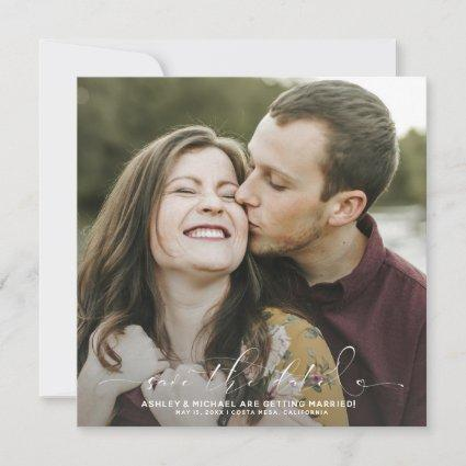 Calligraphy Typography Square 2 Photo Wedding Save The Date