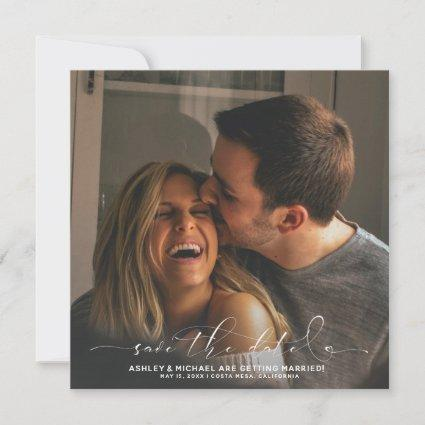 Calligraphy Typography Square 3 Photo Wedding Save The Date