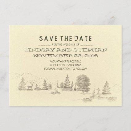 Campground Illustration Camping SAVE THE DATE card