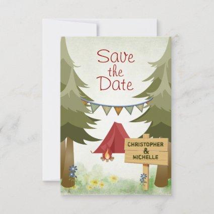Camping Red Tent Woodland Wedding Save The Date
