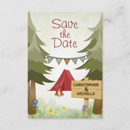 Camping Tent Campfire Save the Date Wedding Invite