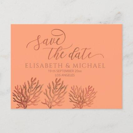 Cantaloupe tropical romantic coral calligraphy announcement