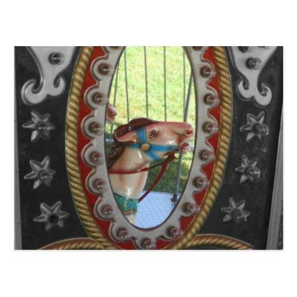 Carousel Horse In Mirror Black White Cards