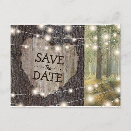 Carved Heart Tree Wedding   Save the Date Announcement
