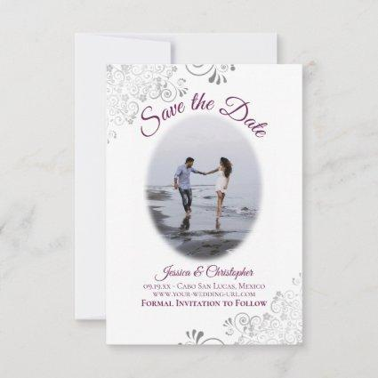 Cassis & White Simple Elegant Wedding Oval Photo Save The Date