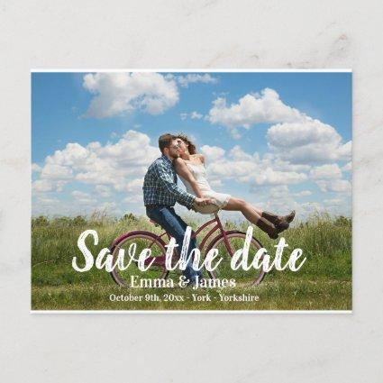 Casual Brush Photo Save the Date Announcement Card