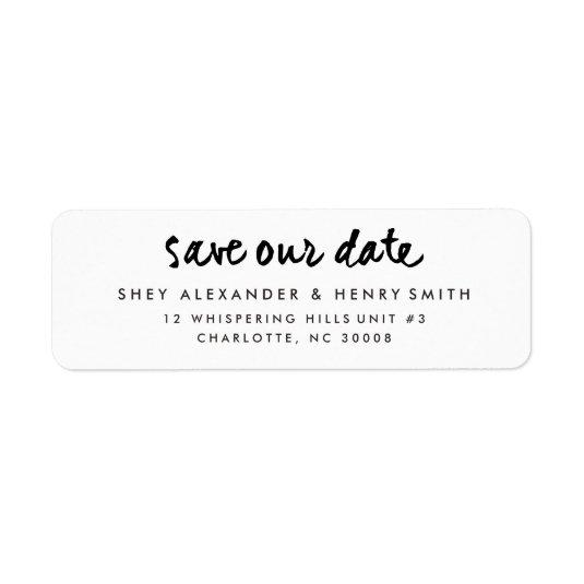 casual script save the date return address label save the date cards