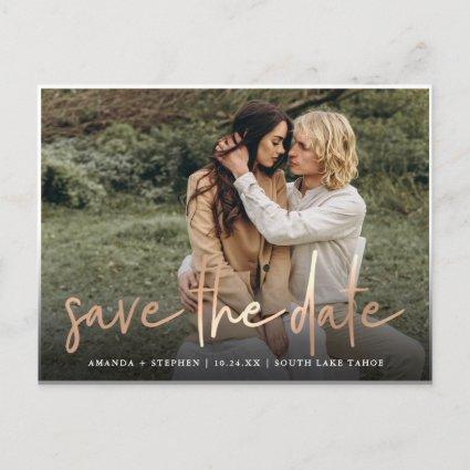 Casual Sketch Copper | Photo Wedding Save the Date Announcement