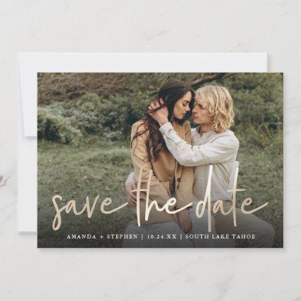 Casual Sketch Gold | Modern Photo Wedding Save The Date