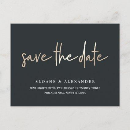 Casual Sketch Gold | Modern Wedding Save the Date Announcement