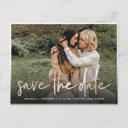 Casual Sketch Gold | Photo Wedding Save the Date Announcement