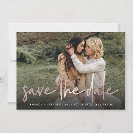 Casual Sketch Rose Gold | Modern Photo Wedding Save The Date