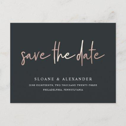 Casual Sketch Rose Gold | Modern Save the Date Announcement