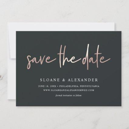 Casual Sketch Rose Gold | Modern Wedding Save The Date