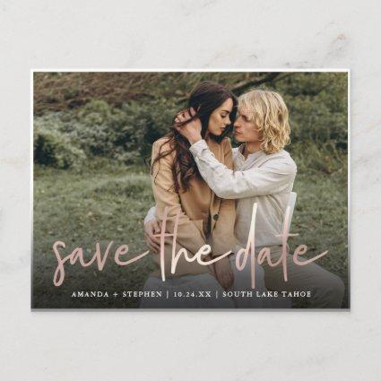 Casual Sketch Rose | Photo Wedding Save the Date Announcement