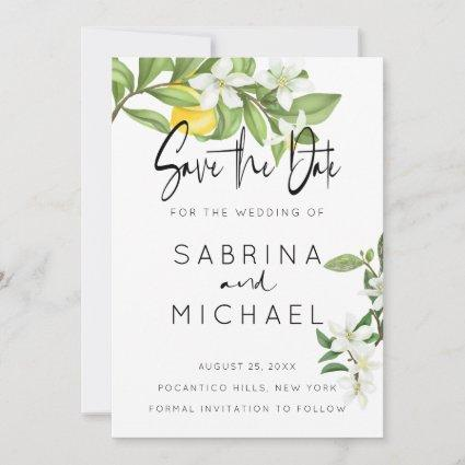 Casual Watercolor Lemon Blossom Save the Date