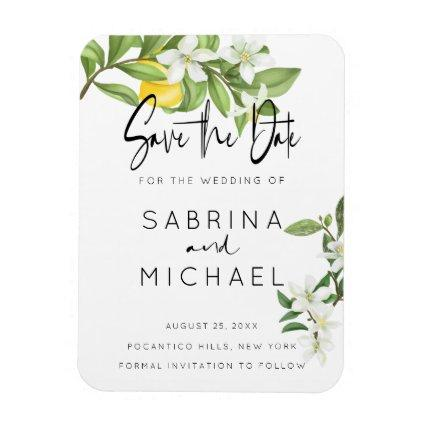 Casual Watercolor Lemon Blossom Save the Date Magnet