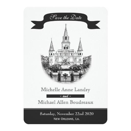 Cathedral Save the Date Black and White 5x7 Paper Invitation Card