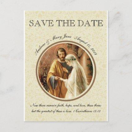 Catholic Bride Groom Mary St. Joseph SAVE THE DATE Announcement