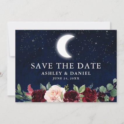Celestial Blue Sky Moon Stars Floral Save The Date