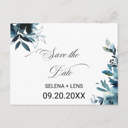 Celestial Navy Blue Floral Save the Date Card