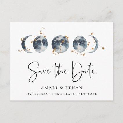 Celestial Starry Moon Phase Save the Date Announcement