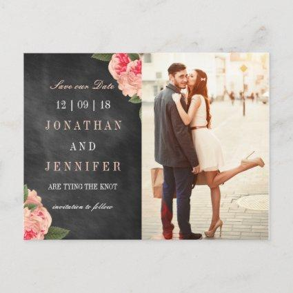 Chalkboard and Coral Floral Save the Date Cards