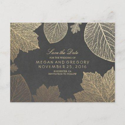 chalkboard and gold leaves fall save the date announcement