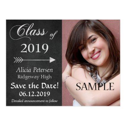 Chalkboard Arrow Save the Date Graduation