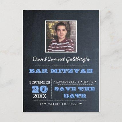 Chalkboard Blue Bar Mitzvah Photo Save the Date Announcement