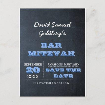 Chalkboard Blue Bar Mitzvah Save the Date Announcements Cards