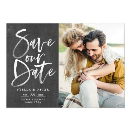 Chalkboard Brush Calligraphy Photo Save the Date Magnetic Invitation
