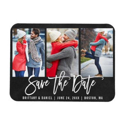 Chalkboard Brush Script 3 Photo Save The Date Magnet