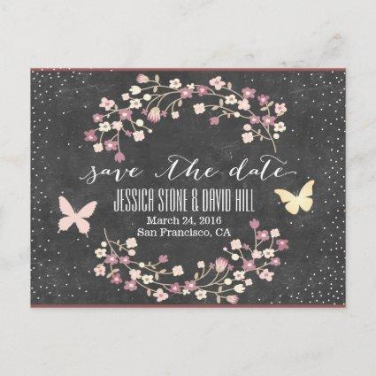 Chalkboard Butterfly & Flowers Save the Date Announcement