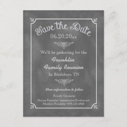 Chalkboard Family Reunion or Party Save the Date Announcement