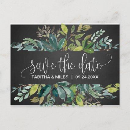 Chalkboard Foliage Save the Date Announcement