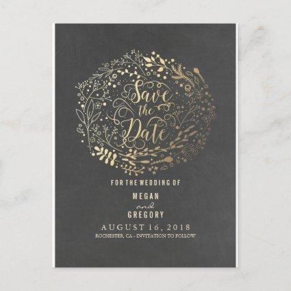 chalkboard gold floral bouquet save the date announcement