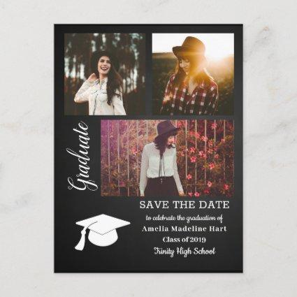 Chalkboard Graduate | Save The Date Grad Hat Photo Announcements Cards